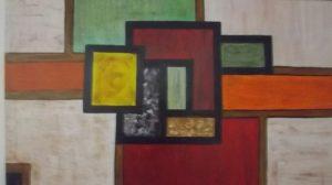 Pintura com cores quentes feita por um utente da APPACDM