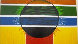 Pintura feita por utente da APPACDM em tons verde, azul, amarelo e vermelho