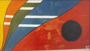 Pintura feita por utentes da APPACDM em tons de amarelo, laranja, verde, azul, vermelho e preto.