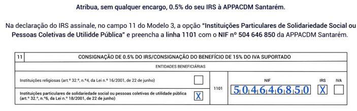 Exemplo do preenchimento do IRS Solidário para ajudar a APPACDM