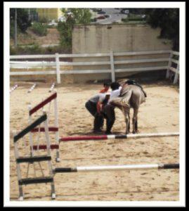 Utente da APPACDM na atividade terapêutica equitação especial